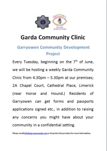 Garda CLINIC facebook poster