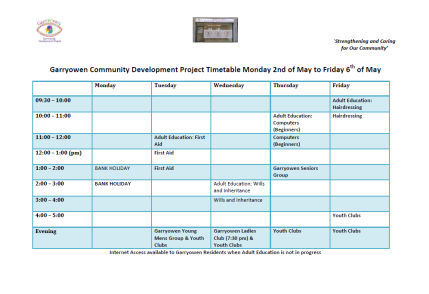 Updated timetable