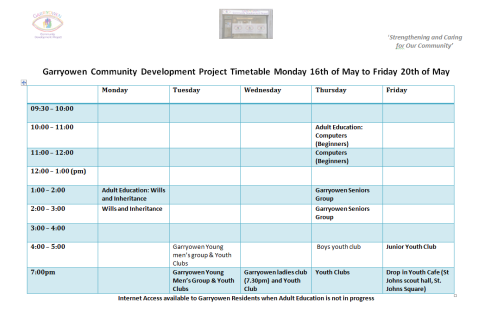 weekly timetable 16.05.16