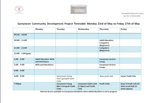 weekly timetable 23.05.2016